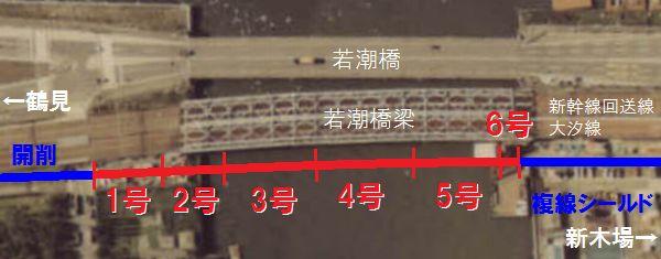 八潮トンネル(品川運河ケーソン)の位置。