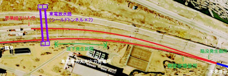 開削トンネル掘削中のトラブル発生個所