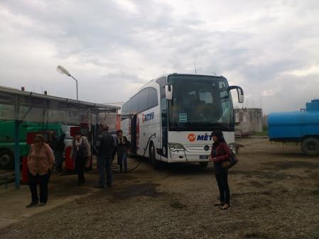 トルコへ向かうバスの休憩