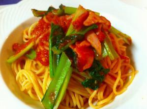 シャルロット ベーコンとタア菜のトマトスパゲッティ