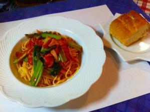 シャルロット ベーコンとタア菜のトマトスパゲッティ セット