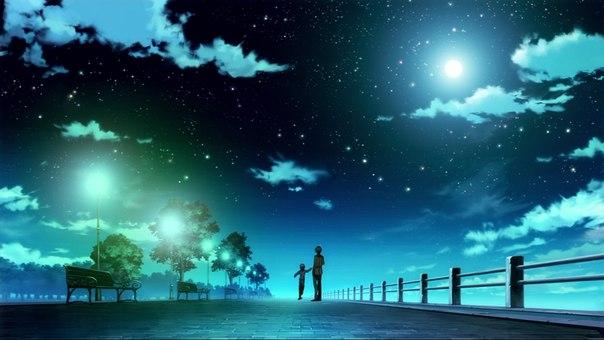 夜空の輝きと親子imagejpg