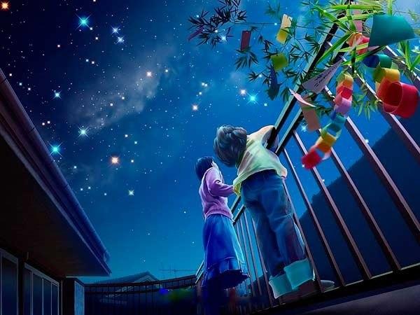 子供と夜空image