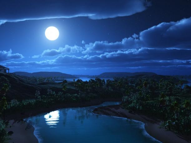 湖に映る月影image