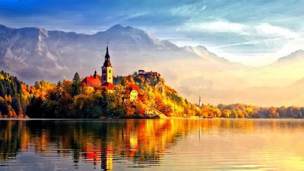 秋の風景と城image