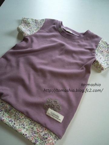 袖切り替えTシャツピンク+花柄②