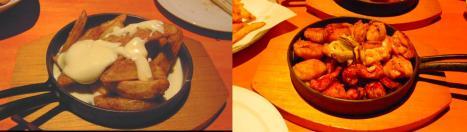 居酒屋メニューのポテトチーズと焼き鳥三昧のデジカメ写真撮影