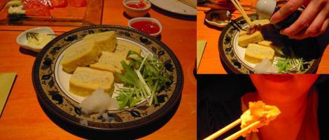 出し巻き卵に大根おろしと醤油で食べる嫁のデジカメ写真撮影