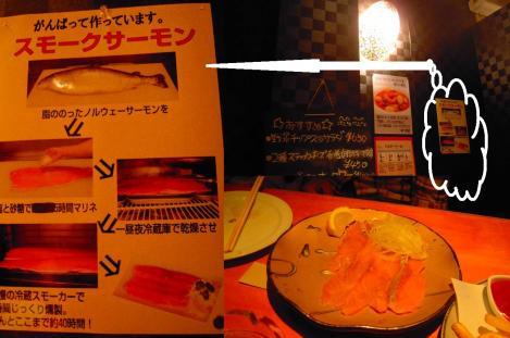 居酒屋メニューのスモークサーモンのデジカメ写真撮影