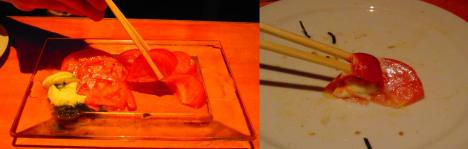 冷やしトマトバジリコ風味に何故かトマトケチャップを付けて食べたデジカメ写真撮影