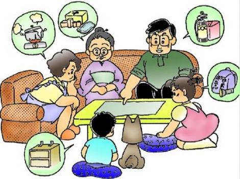 家族防災会議のフリーイラスト画像