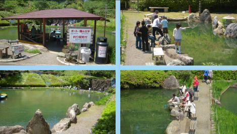 奥山高原の植物観光地の池でボートに乗り鯉にエサを与える人や釣り堀で釣りを楽しむ人たちをデジカメ撮影したデジカメ写真