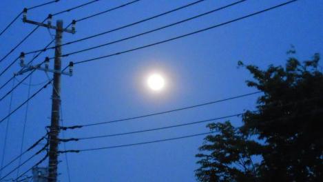 大きな月の様子をデジカメで撮影した写真