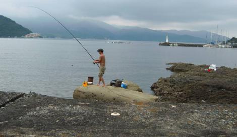 神奈川県から駿河湾に海釣り来てた建設業界職人さんはソーダカツオを釣っていた時のデジカメ写真撮影です