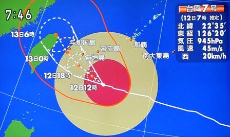 7月12日朝台風7号進路予想