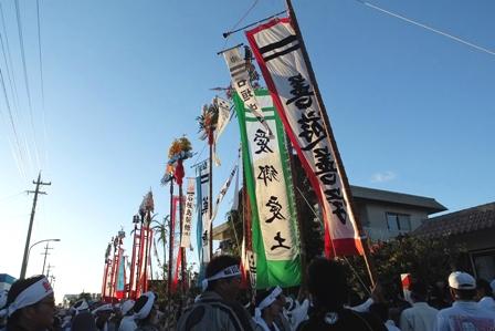 ツナヌミン会場前の旗頭