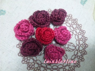 編み物 巻きバラ 1-1