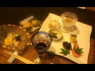 ワイン、前菜、白バイ貝黄味酢掛け