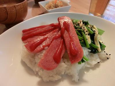 ポークランチョンミート丼