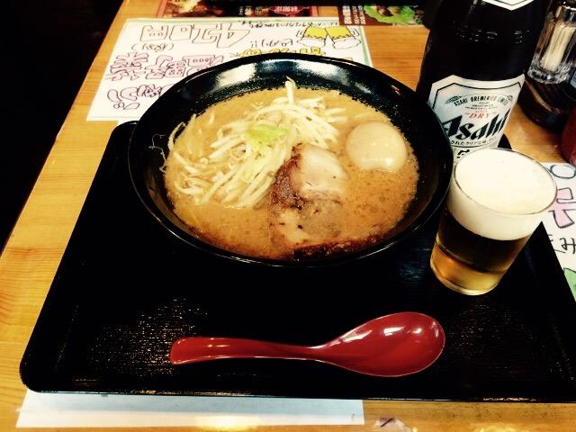 味噌ラーメン&ビール!