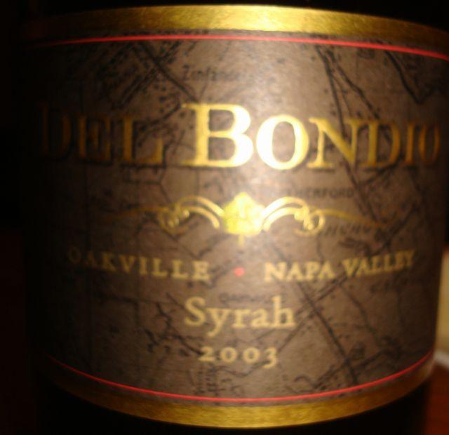Del Bondio Oakville Napa Valley Syrah 2003