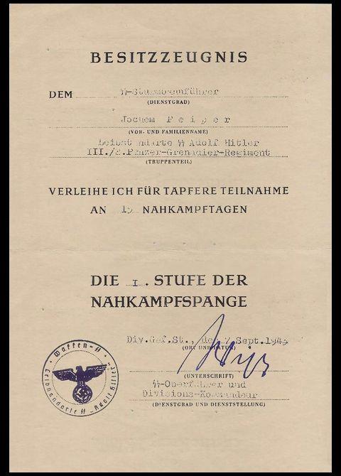 Nahkampfspange_urkunde_Joachim Peiper_Bronze
