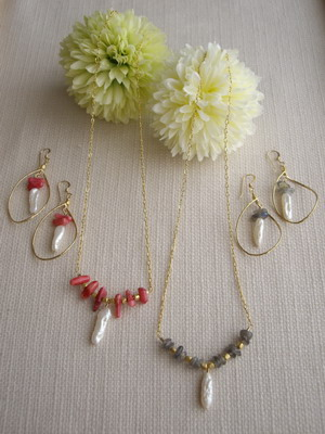 bar style stick pearl necklace&earrings