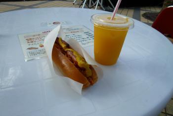 ホットドッグ&オレンジジュース