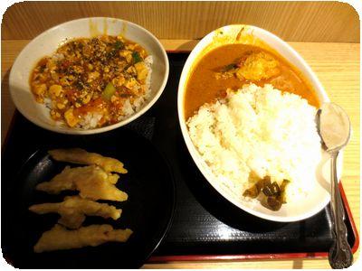 カレーライス+マーボー丼+新生姜天