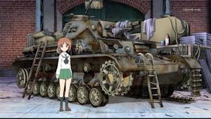 発見時のⅣ号戦車。前にいるのは主人公の西住みほ