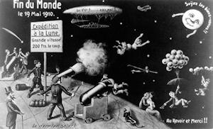 1910年の接近時にこの世の終わりを唱えた人々を皮肉る風刺画(フランス)