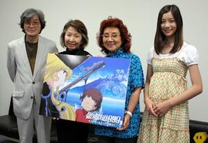 銀鉄声優。左から車掌役の肝付兼太、池田昌子、哲郎役の野沢雅子