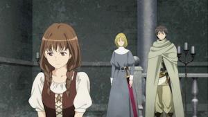 普段着のメイド姉(後ろは勇者と女騎士)