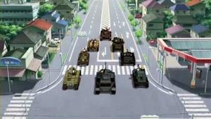 大洗を凱旋する戦車隊