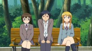 京介を挟んで睨み合う桐乃と麻奈美