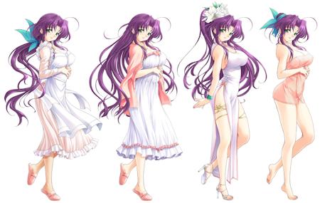 咲良四態。左から普段着、ネグリジェ、チャイナドレス、バスタオル