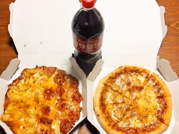 ドミノピザのピザとコーラ