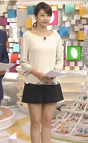 加藤綾子 太もも。ホットパンツみたいに短いキュロットキャプ画像(エロ・アイコラ画像)