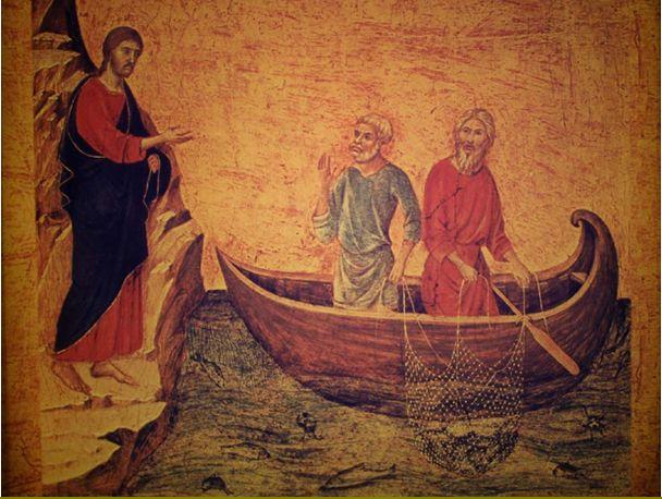 ガリラヤ湖のイエスとペテロ